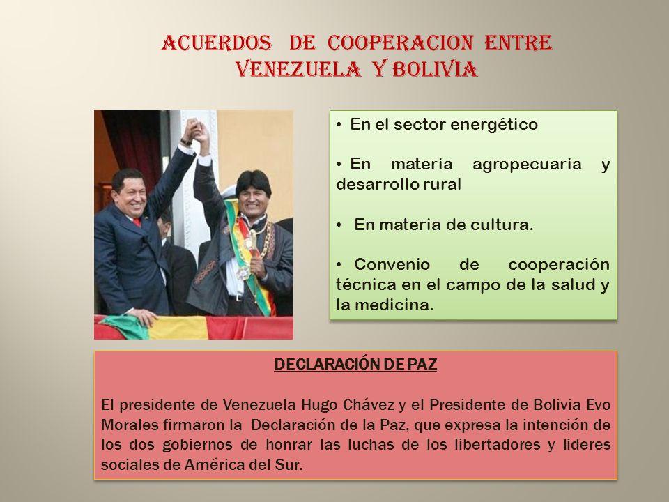 ACUERDOS DE COOPERACION ENTRE VENEZUELA Y BOLIVIA