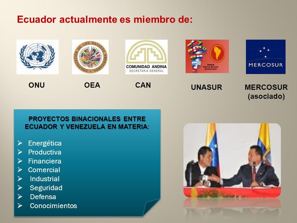 PROYECTOS BINACIONALES ENTRE ECUADOR Y VENEZUELA EN MATERIA: