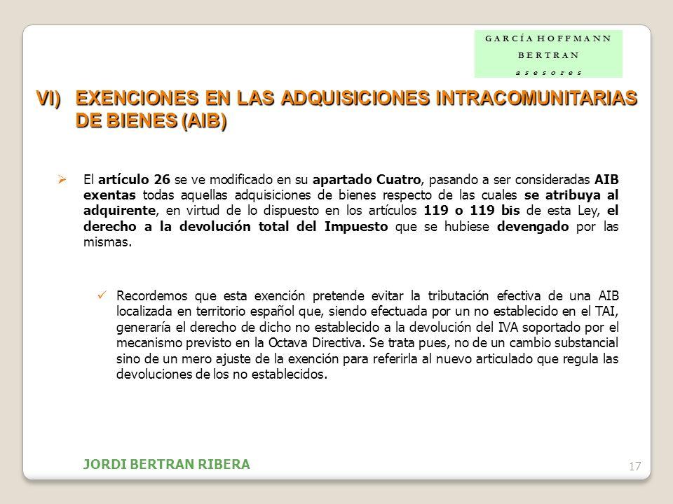EXENCIONES EN LAS ADQUISICIONES INTRACOMUNITARIAS DE BIENES (AIB)