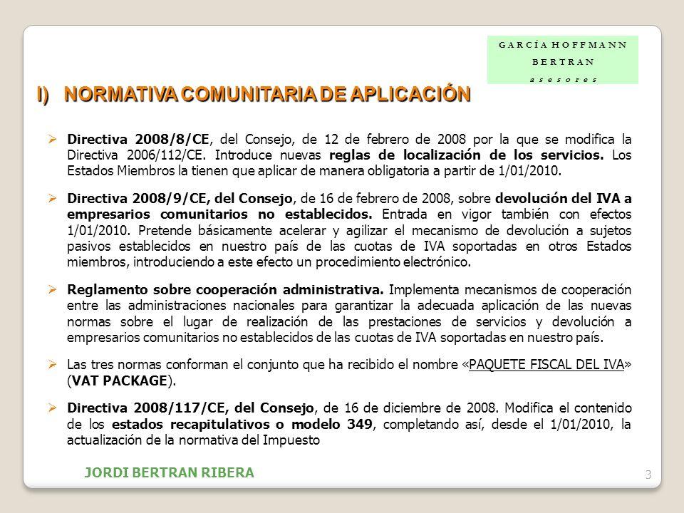 I) NORMATIVA COMUNITARIA DE APLICACIÓN