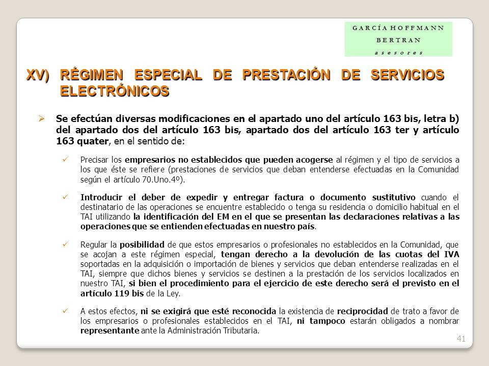 XV) RÉGIMEN ESPECIAL DE PRESTACIÓN DE SERVICIOS ELECTRÓNICOS