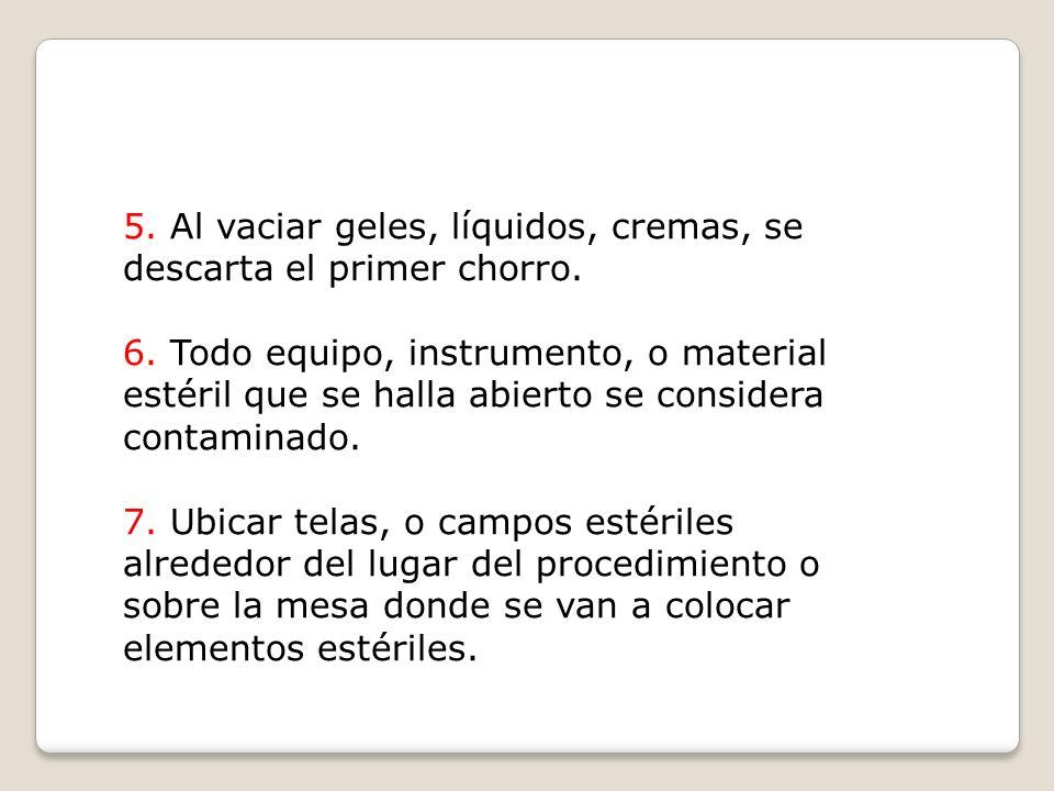 5. Al vaciar geles, líquidos, cremas, se descarta el primer chorro.