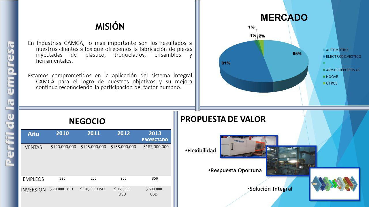 Perfil de la empresa MISIÓN PROPUESTA DE VALOR NEGOCIO Año