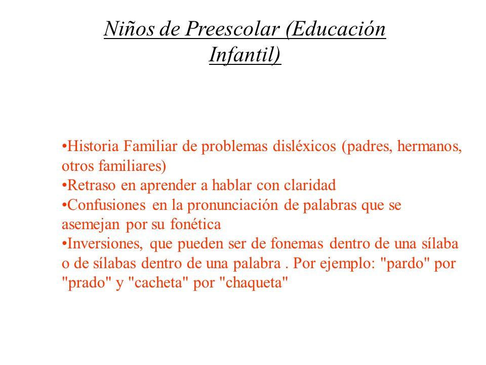 Niños de Preescolar (Educación Infantil)
