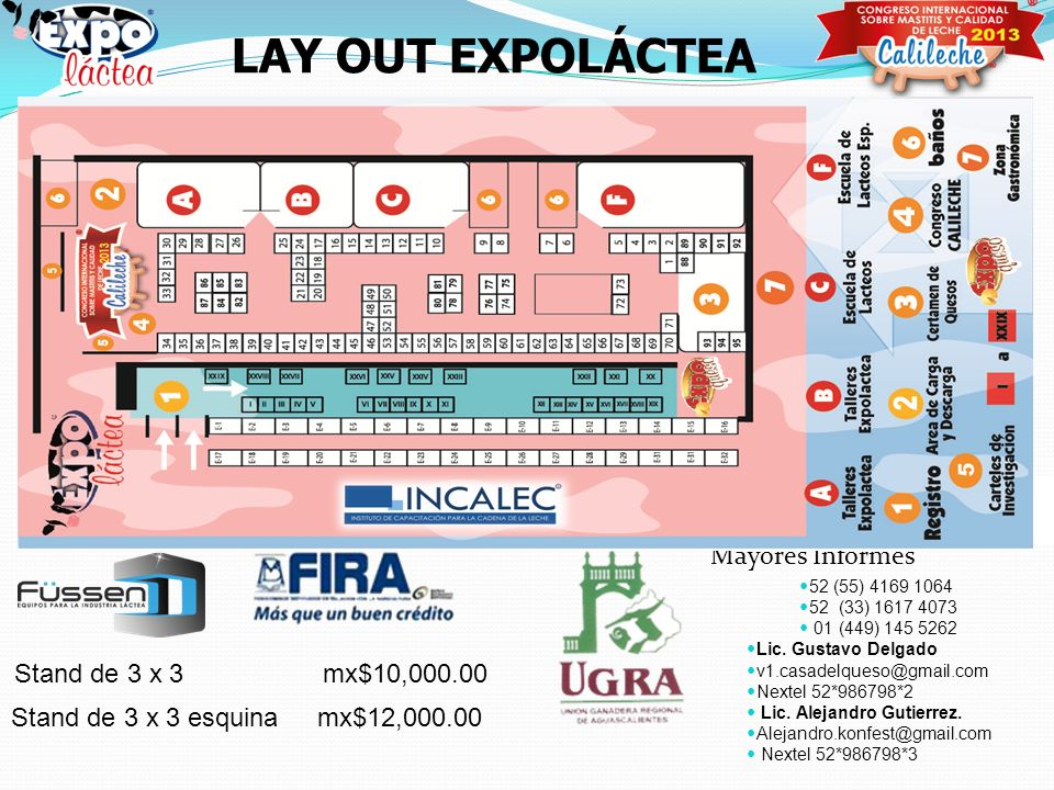 LAY OUT EXPOLÁCTEA Mayores Informes Stand de 3 x 3 mx$10,000.00