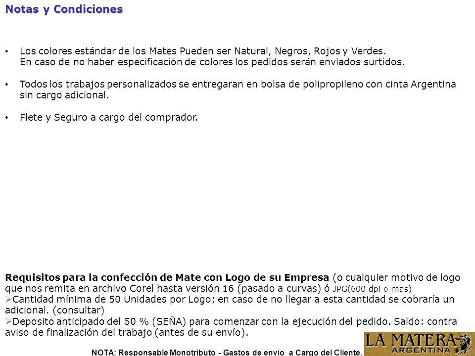 NOTA: Responsable Monotributo - Gastos de envío a Cargo del Cliente.