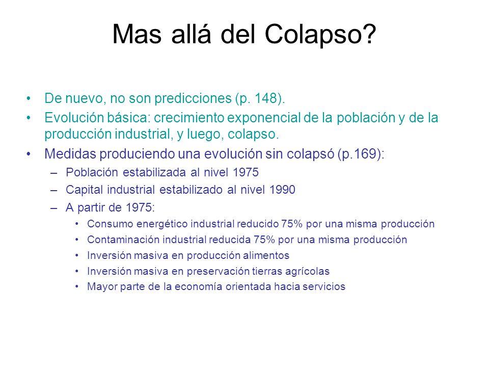 Mas allá del Colapso De nuevo, no son predicciones (p. 148).