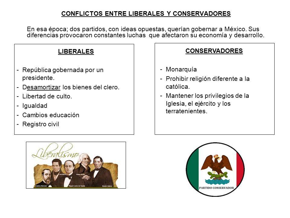 CONFLICTOS ENTRE LIBERALES Y CONSERVADORES