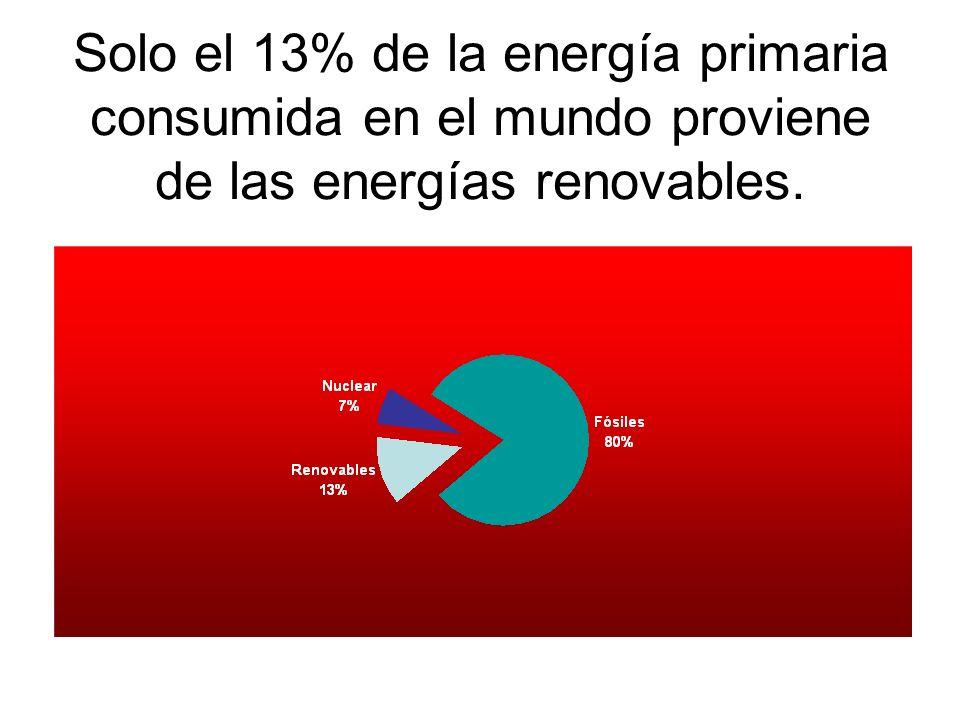 Solo el 13% de la energía primaria consumida en el mundo proviene de las energías renovables.