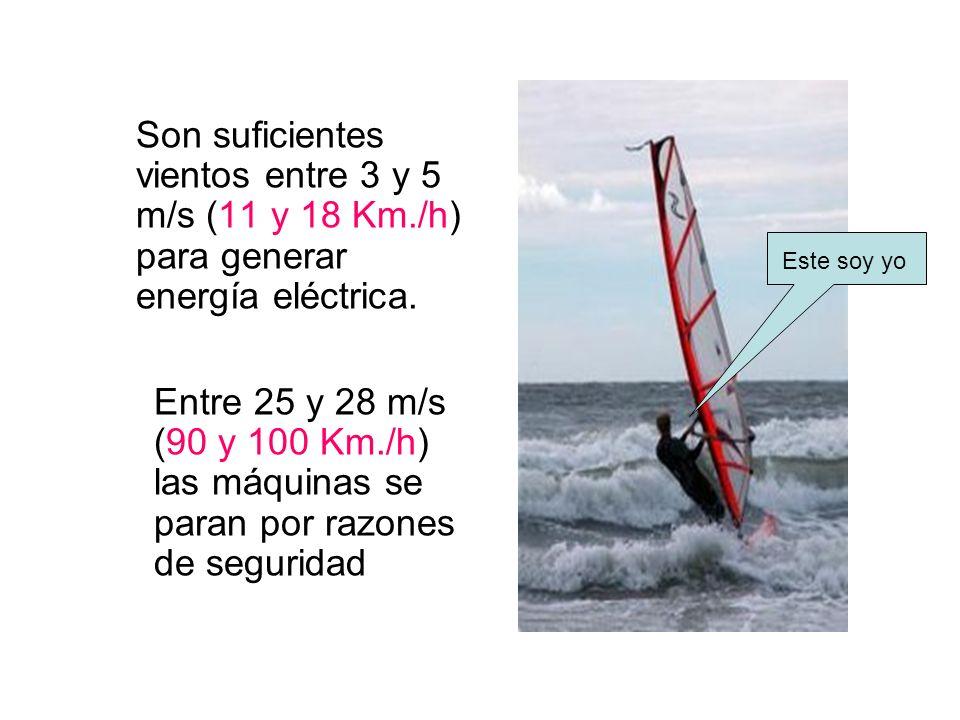 Son suficientes vientos entre 3 y 5 m/s (11 y 18 Km