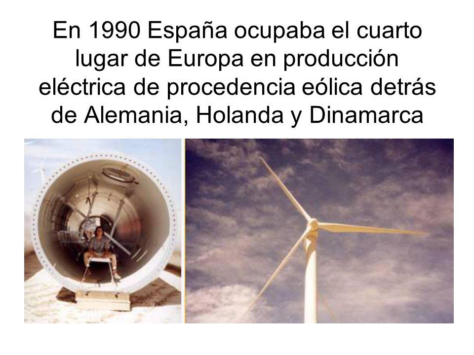 En 1990 España ocupaba el cuarto lugar de Europa en producción eléctrica de procedencia eólica detrás de Alemania, Holanda y Dinamarca
