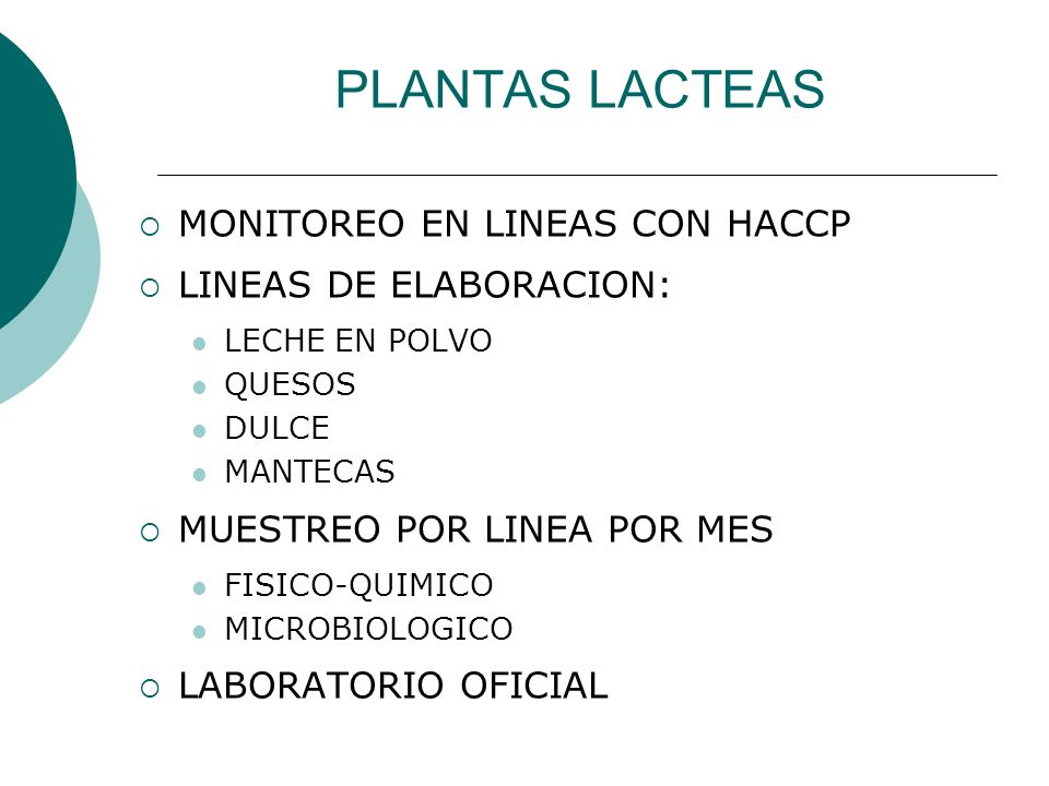PLANTAS LACTEAS MONITOREO EN LINEAS CON HACCP LINEAS DE ELABORACION: