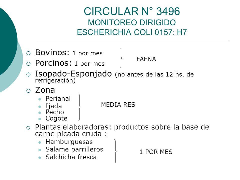 CIRCULAR N° 3496 MONITOREO DIRIGIDO ESCHERICHIA COLI 0157: H7