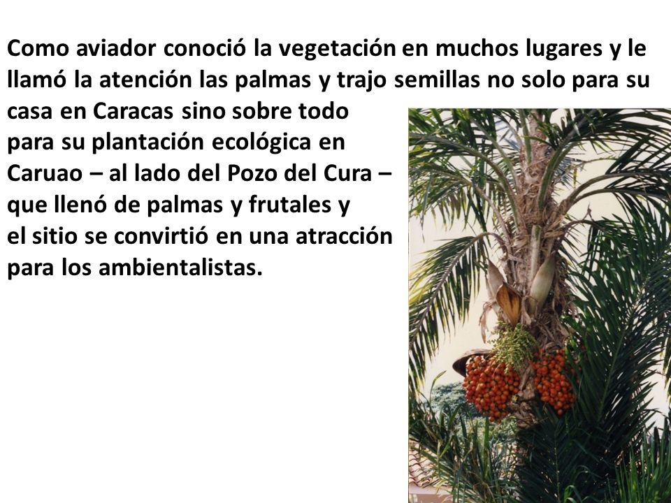 Como aviador conoció la vegetación en muchos lugares y le llamó la atención las palmas y trajo semillas no solo para su casa en Caracas sino sobre todo
