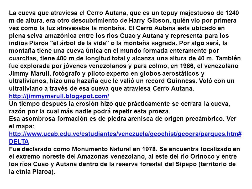 La cueva que atraviesa el Cerro Autana, que es un tepuy majestuoso de 1240 m de altura, era otro descubrimiento de Harry Gibson, quién vio por primera vez como la luz atravesaba la montaña. El Cerro Autana esta ubicado en plena selva amazónica entre los ríos Cuao y Autana y representa para los indios Piaroa el árbol de la vida o la montaña sagrada. Por algo será, la montaña tiene una cueva única en el mundo formada enteramente por cuarcitas, tiene 400 m de longitud total y alcanza una altura de 40 m. También fue explorada por jóvenes venezolanos y para colmo, en 1986, el venezolano Jimmy Marull, fotógrafo y piloto experto en globos aerostáticos y ultralivianos, hizo una hazaña que le valió un record Guinness. Voló con un ultraliviano a través de esa cueva que atraviesa Cerro Autana. http://jimmymarull.blogspot.com/