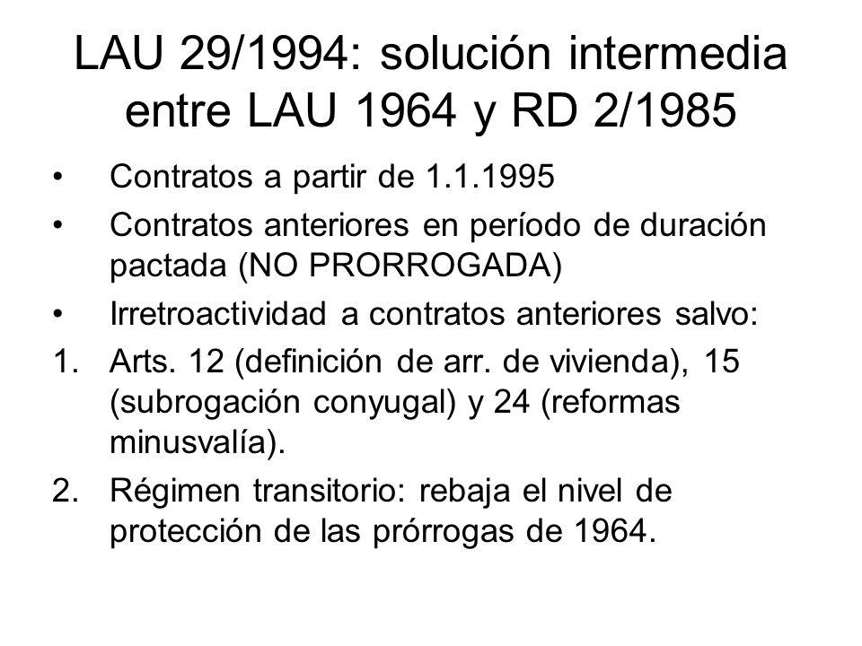 LAU 29/1994: solución intermedia entre LAU 1964 y RD 2/1985