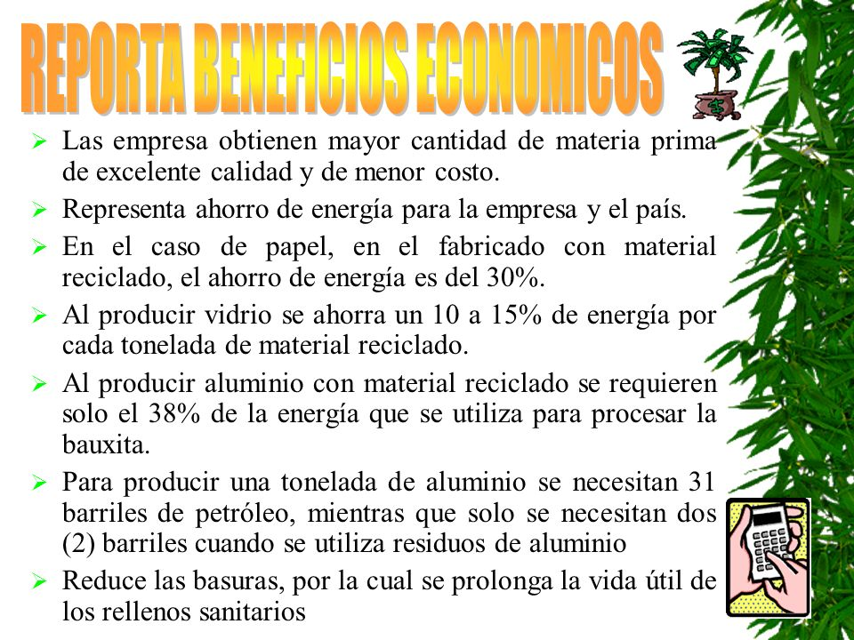 REPORTA BENEFICIOS ECONOMICOS
