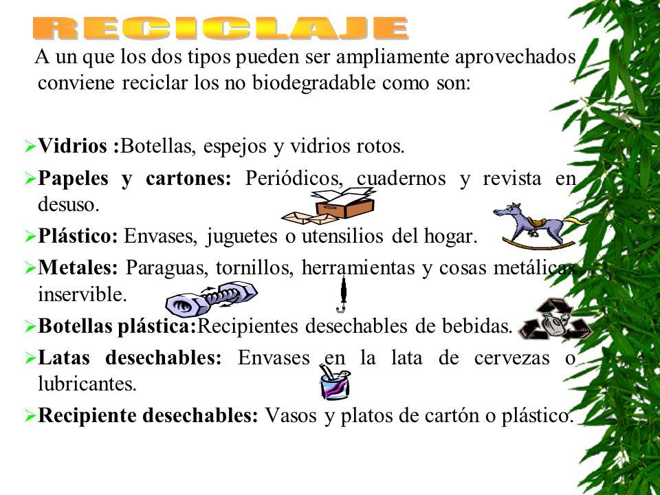 RECICLAJE A un que los dos tipos pueden ser ampliamente aprovechados conviene reciclar los no biodegradable como son: