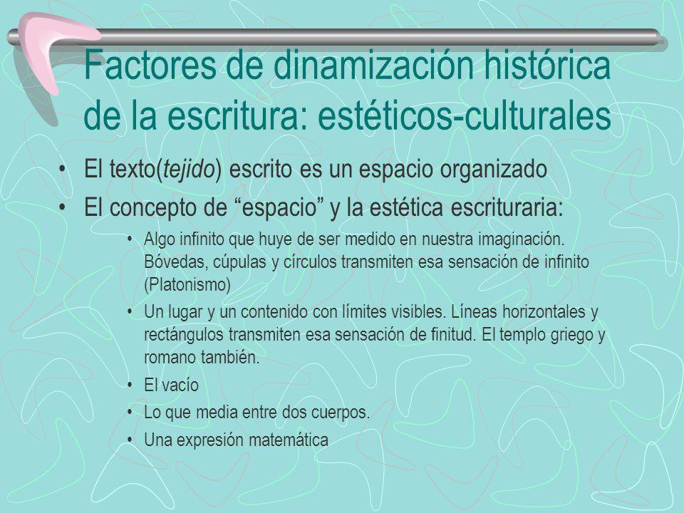 Factores de dinamización histórica de la escritura: estéticos-culturales