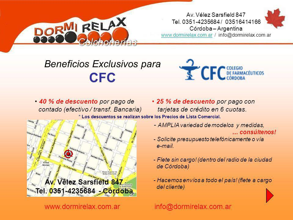 CFC Beneficios Exclusivos para Av. Vélez Sarsfield 847