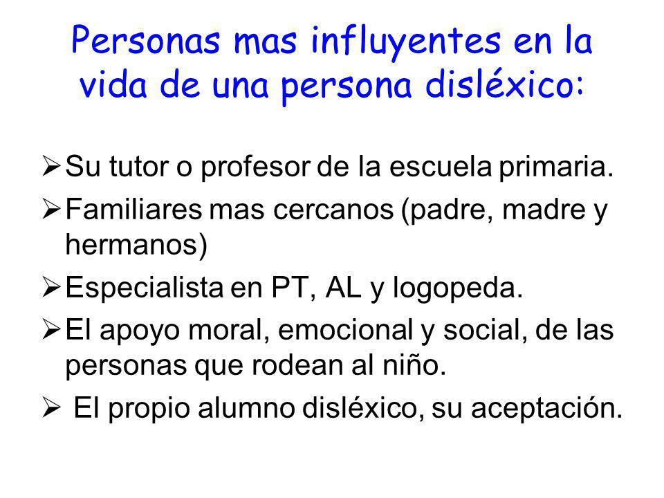 Personas mas influyentes en la vida de una persona disléxico: