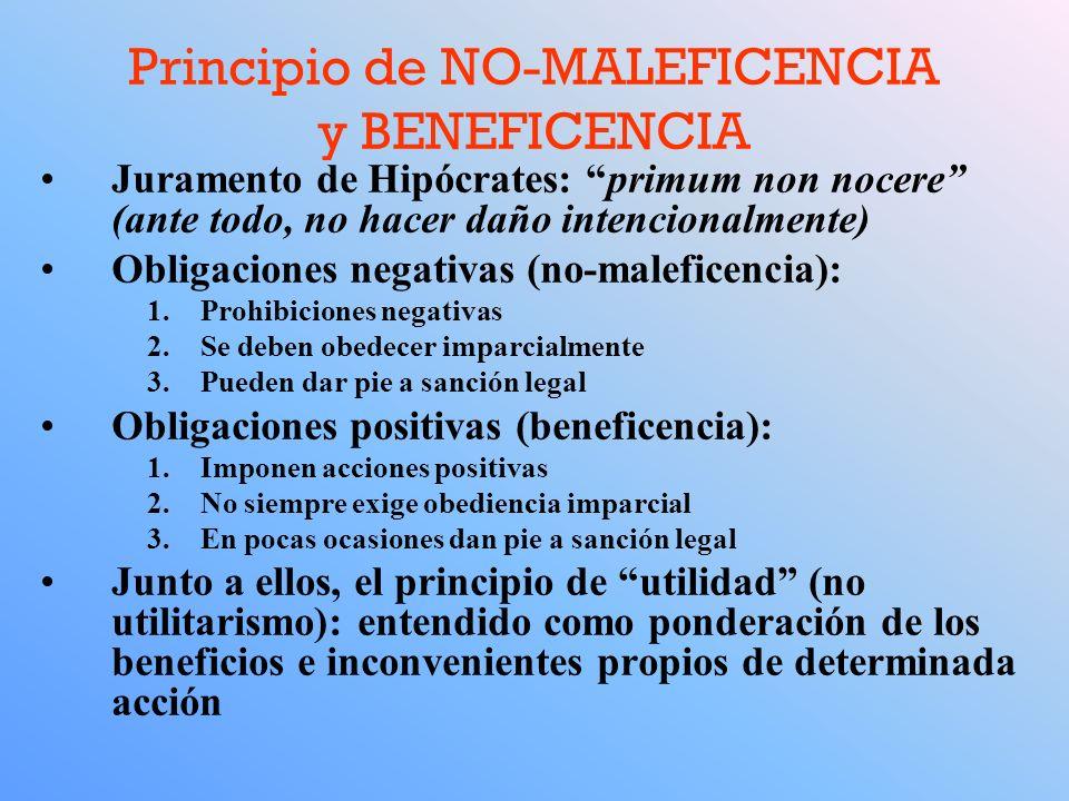 Principio de NO-MALEFICENCIA y BENEFICENCIA