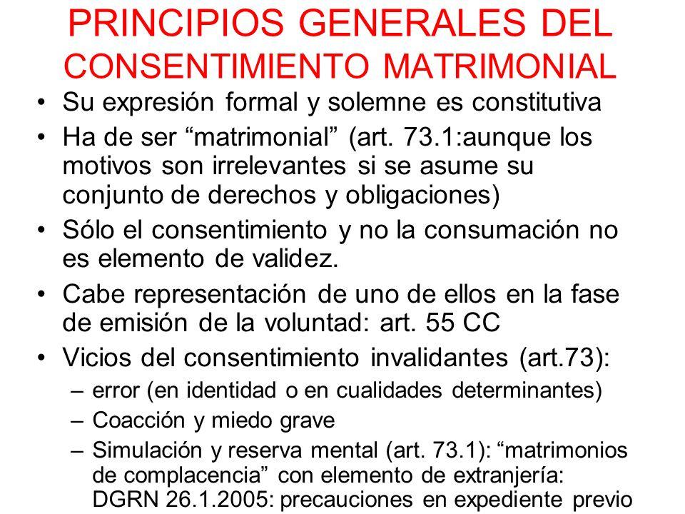 PRINCIPIOS GENERALES DEL CONSENTIMIENTO MATRIMONIAL