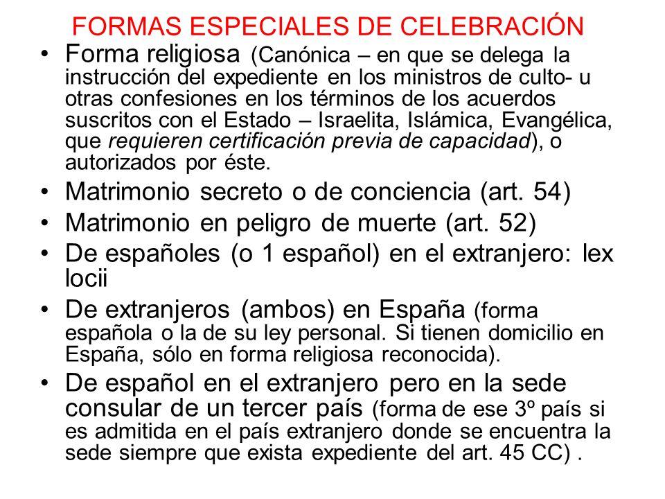 FORMAS ESPECIALES DE CELEBRACIÓN