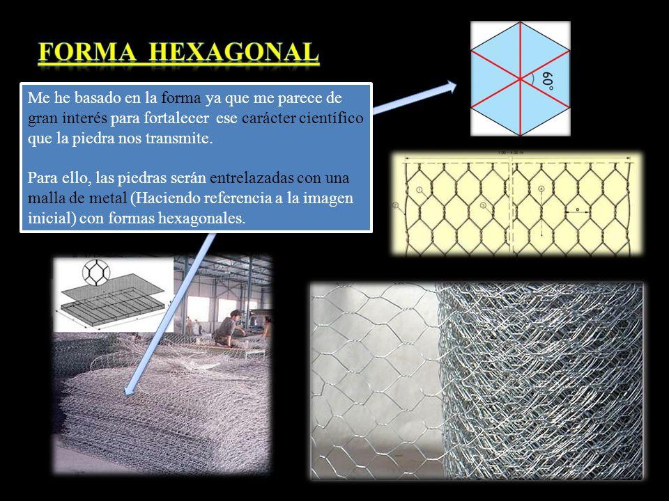 Forma Hexagonal Me he basado en la forma ya que me parece de gran interés para fortalecer ese carácter científico que la piedra nos transmite.