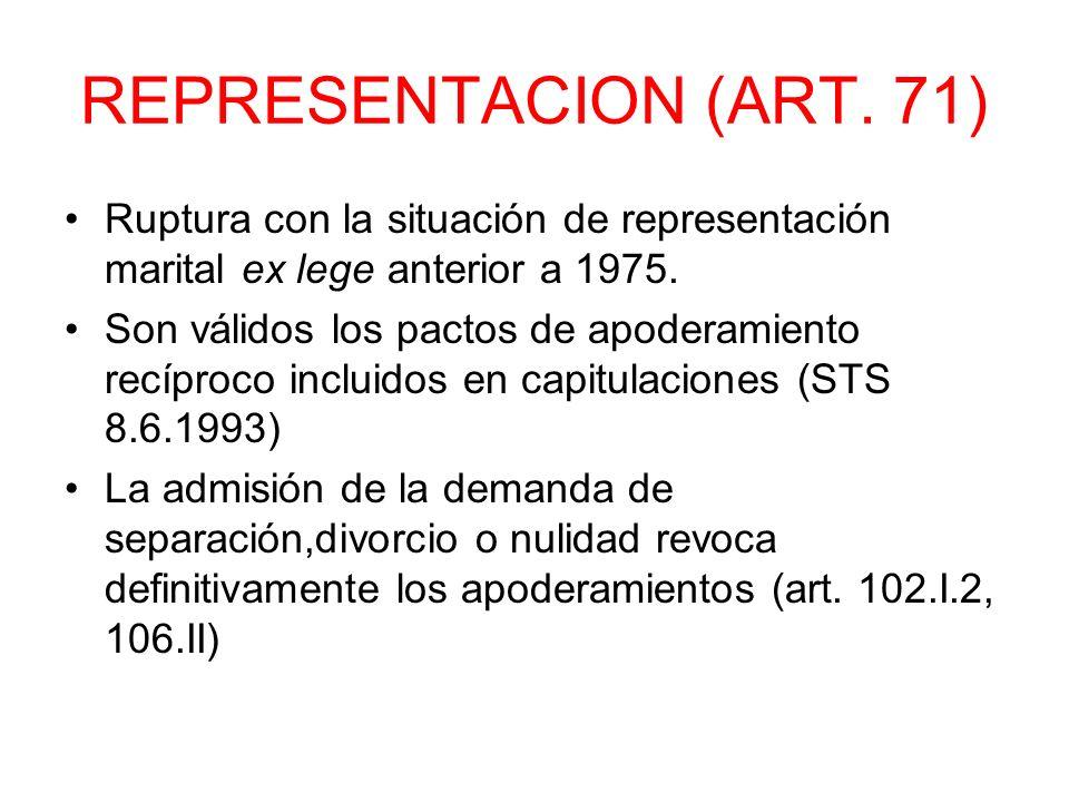 REPRESENTACION (ART. 71) Ruptura con la situación de representación marital ex lege anterior a 1975.