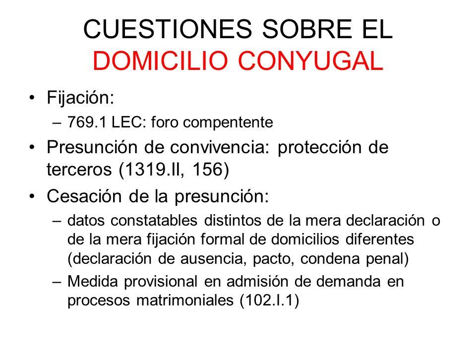 CUESTIONES SOBRE EL DOMICILIO CONYUGAL