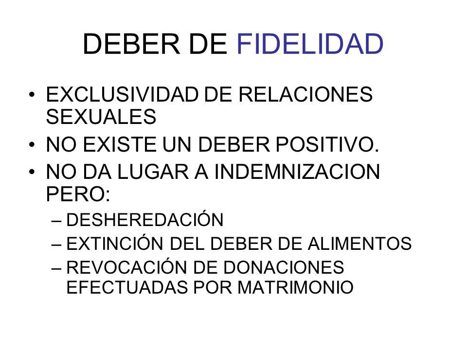 DEBER DE FIDELIDAD EXCLUSIVIDAD DE RELACIONES SEXUALES