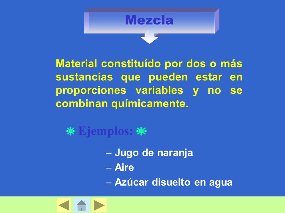 Mezcla Material constituído por dos o más sustancias que pueden estar en proporciones variables y no se combinan químicamente.