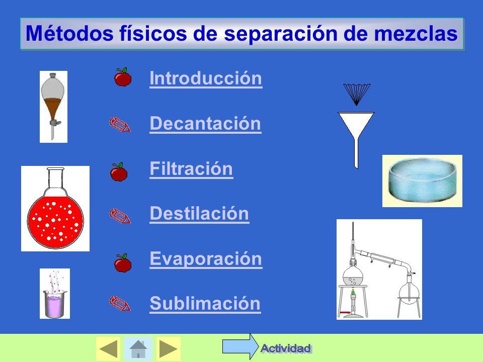 Actividad Métodos físicos de separación de mezclas Introducción