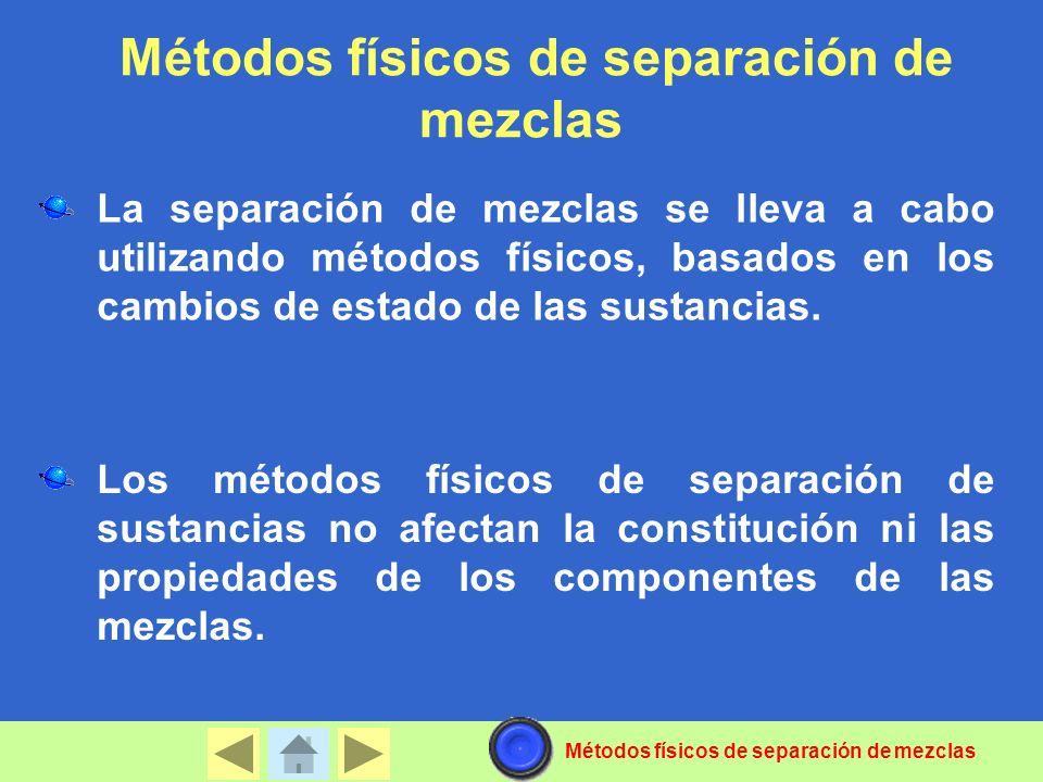 Métodos físicos de separación de mezclas