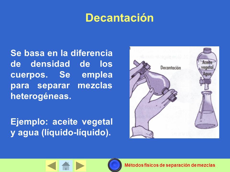 Decantación Se basa en la diferencia de densidad de los cuerpos. Se emplea para separar mezclas heterogéneas.
