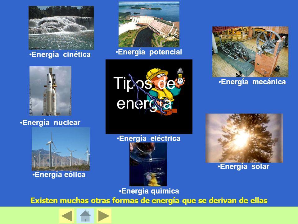 Tipos de energía Energía potencial Energía cinética Energía mecánica