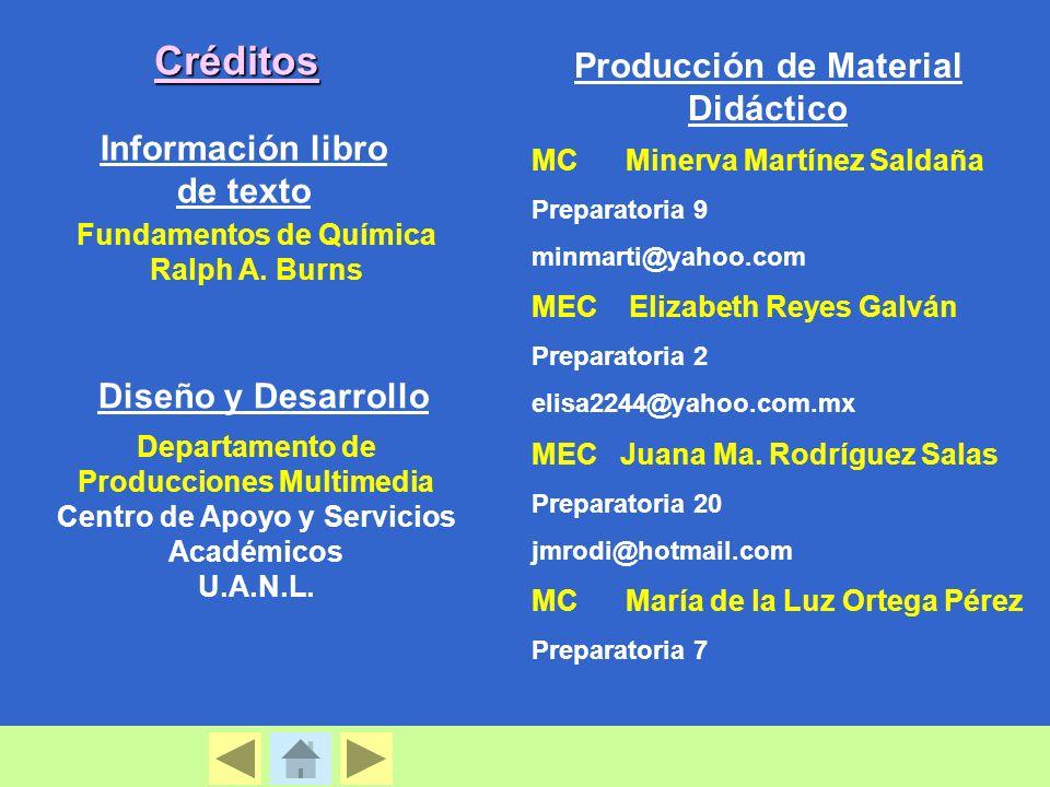 Créditos Producción de Material Didáctico Información libro de texto