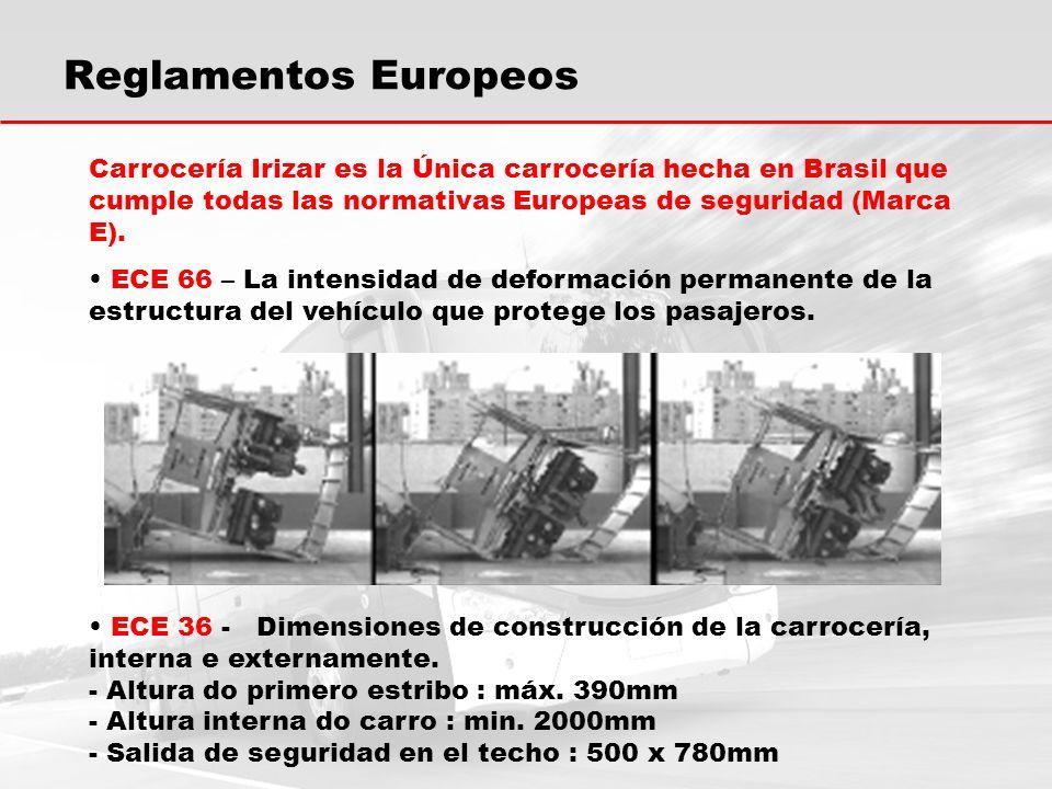 Reglamentos Europeos Carrocería Irizar es la Única carrocería hecha en Brasil que cumple todas las normativas Europeas de seguridad (Marca E).