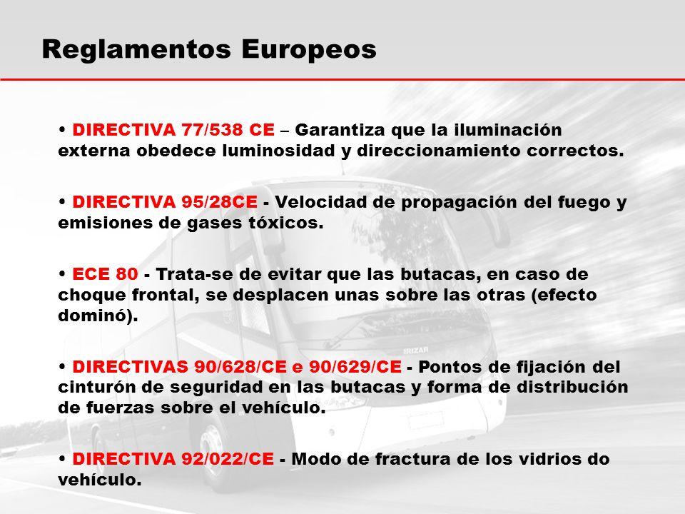 Reglamentos Europeos DIRECTIVA 77/538 CE – Garantiza que la iluminación externa obedece luminosidad y direccionamiento correctos.