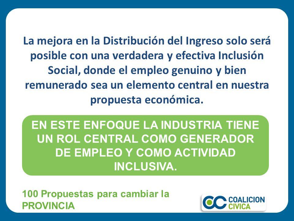 La mejora en la Distribución del Ingreso solo será posible con una verdadera y efectiva Inclusión Social, donde el empleo genuino y bien remunerado sea un elemento central en nuestra propuesta económica.