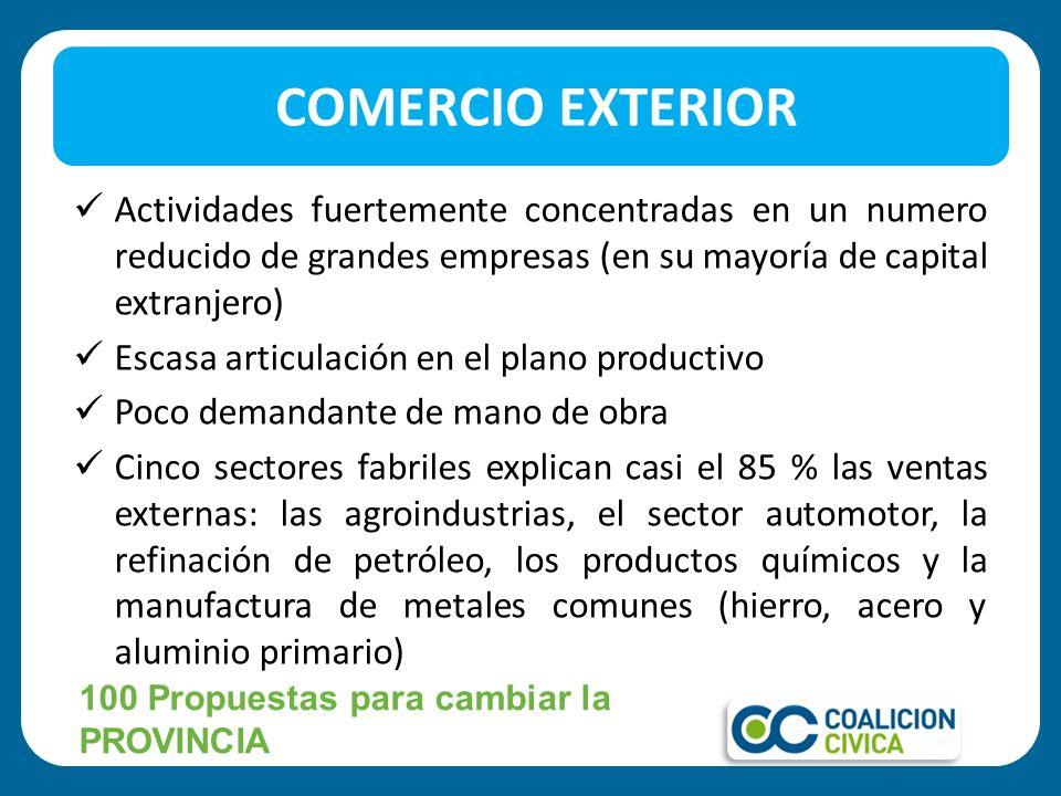 COMERCIO EXTERIOR Actividades fuertemente concentradas en un numero reducido de grandes empresas (en su mayoría de capital extranjero)