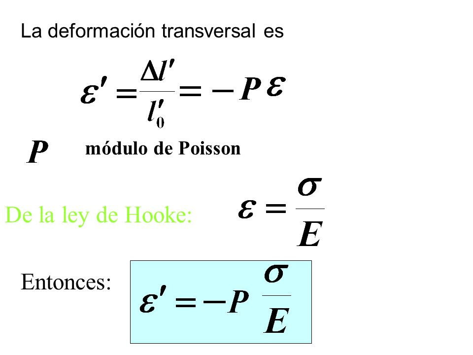 De la ley de Hooke: Entonces: La deformación transversal es