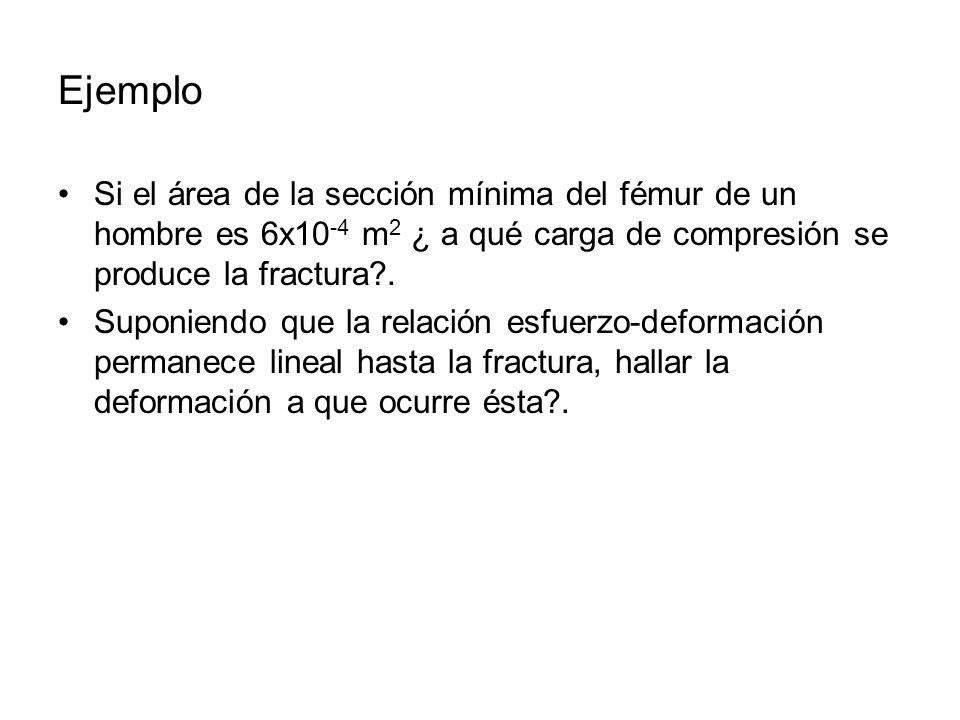 Ejemplo Si el área de la sección mínima del fémur de un hombre es 6x10-4 m2 ¿ a qué carga de compresión se produce la fractura .