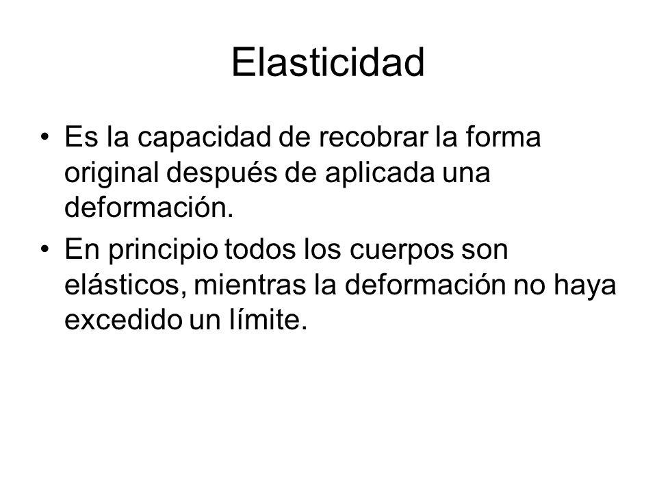 Elasticidad Es la capacidad de recobrar la forma original después de aplicada una deformación.