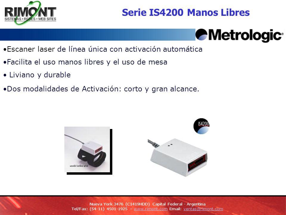 Serie IS4200 Manos Libres Escaner laser de línea única con activación automática. Facilita el uso manos libres y el uso de mesa.