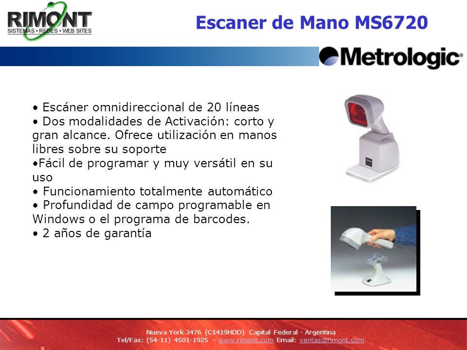 Escaner de Mano MS6720 Escáner omnidireccional de 20 líneas