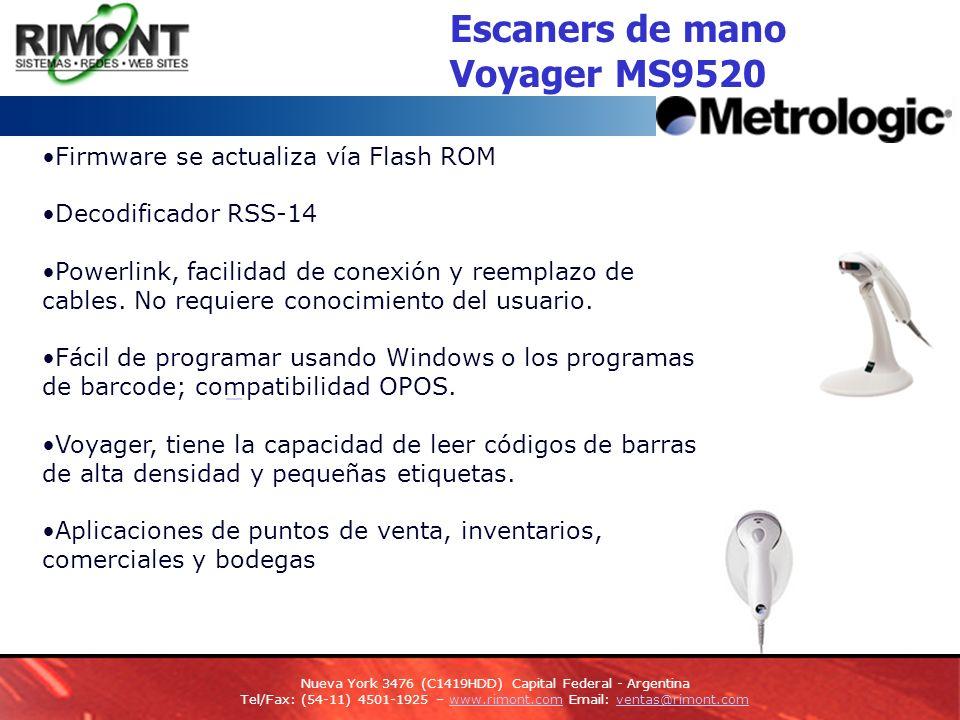 Escaners de mano Voyager MS9520 Firmware se actualiza vía Flash ROM