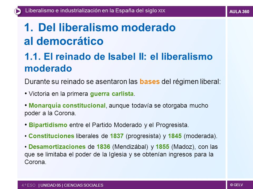 Del liberalismo moderado al democrático