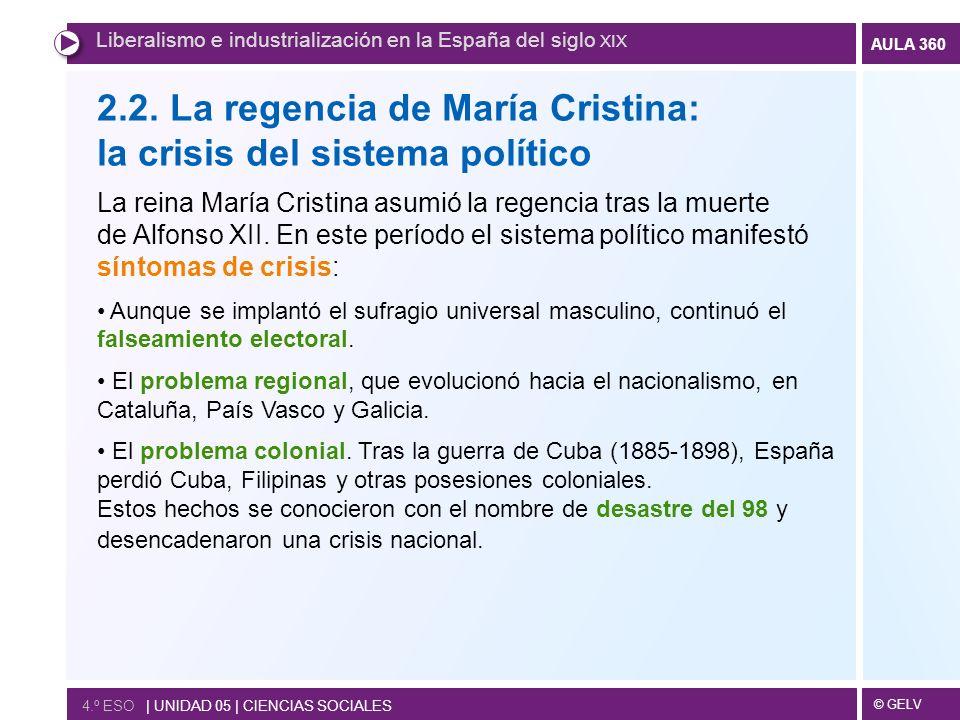 2.2. La regencia de María Cristina: la crisis del sistema político